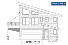 House Plan 40816 - Contemporary, Modern Style House Plan with 1359 Sq Ft, 3 Bed, 2 Bath, 1 Car Garage Garage Apartment Plans, Garage House Plans, Garage Apartments, New House Plans, Car Garage, Dream Garage, Modern Mountain Home, Modern Garage, Modern Exterior