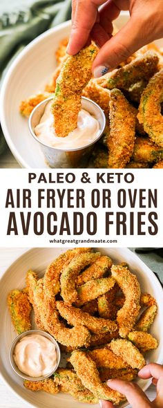 Crispy and delicious keto avocado fries in air fryer or the oven! So crunchy on the outside and soft and creamy on the inside, they make a perfect snack. They are paleo friendly and so delicious. Keto Avocado, Avocado Fries, Baked Avocado, Avocado Recipes, Best Gluten Free Recipes, Paleo Recipes, Low Carb Recipes, Whole Food Recipes, Appetizer Recipes
