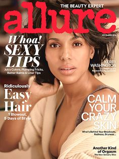 Kerry Washington graces the November 2014 issue of Allure makeup-free.