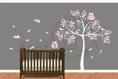 Owls and Birds in a Tree Wall Decal - Children's and Infant's Playroom and Bedroom Decoration