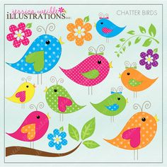 Chatter Birds Cute Digital Clipart for Card Design, Scrapbooking, and Web Design Scrapbook Paper, Scrapbooking, Bubble Drawing, Bird Doodle, Bird Template, Paper Birds, Cute Clipart, Cute Birds, Bird Art