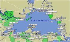 Map of Lake Superior WaterFalls Lake Superior Map, Superior Wisconsin, Lake Superior Agates, Michigan Vacations, Michigan Travel, Wisconsin Vacation, Wisconsin Waterfalls, Autumn Lake, Lake Arrowhead