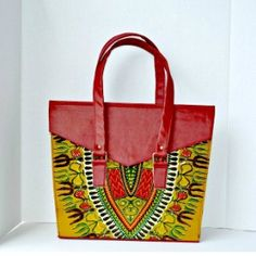 African Dashiki Print Tote Bag from Zabba Designs African Clothing Store