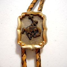 Bucking Horse Cowboy Buckle Bolo Tie Unisex by honeyblossomstudio