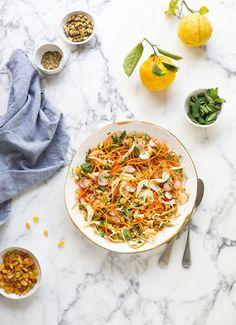 Moroccan carrot & fennel salad with sultanas & pistachios Cauliflower Hummus, Roasted Cauliflower, Fennel Uses, Pistachio Recipes, Passionfruit Recipes, Moroccan Carrots, Moroccan Salad, Fennel Salad, Mexica