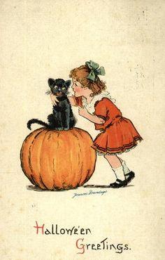 Halloween Greetings ~ Vintage Frances Brundage postcard
