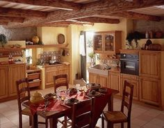 French Country Kitchen Style for Your House: Exciting-kitchen-room-kitchen-stuff-some-kitchen-drawer-at-below-the-small-window-and-at-the-right-window-with-microwave-cutlery-set-mixture-between-brown-cream-and-red-colors – Architecture and Home Design Interior