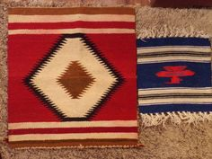 2 NAVAJO RUGS-TEXTILES-10x10in-17x18in-NATIVE AMERICAN-INDIAN-VINTAGE-NR!