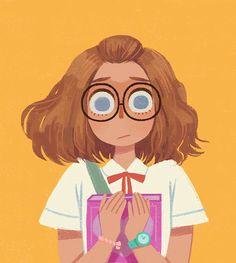Sweet girl on Behance - Art ideas Art And Illustration, Texture Illustration, Character Illustration, Cartoon Illustrations, Cartoon Art Styles, Cute Art Styles, Art Anime, Anime Art Girl, Arte Copic