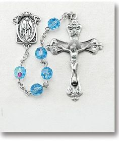 """7mm Light Sapphire Swarovski Crystal Beads with Art Deco Profile and 2"""" Sterling Silver Crucifix. Deluxe Velour Gift Box Included."""