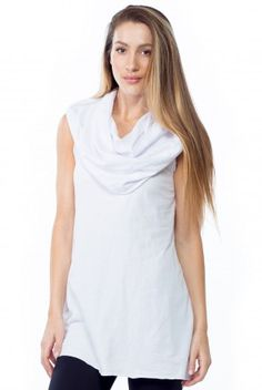 LVR Fashion Sleeveless Pullover Cowl Neck Tunic in White