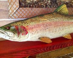 Rainbow Trout 3ft. chainsaw wooden trout carving fish sculpture trophy fly…