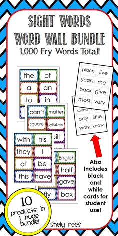 Sight Word Word Wall Bundle.  Includes 10 sets of 100 words from all 10 of the Fry Sight Word Lists.  1,000 words in all!  Cute, colorful chevron borders with clear, easy-to-read primary font.  Bonus set of black and white word cards for student use included!  Perfect for word work, literacy centers, flashcards, read the room, etc.!