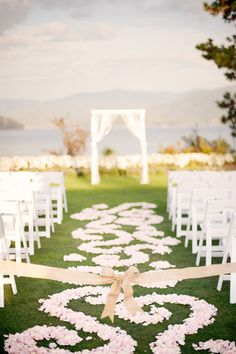 What a gorgeous flower petal covered ceremony aisle for an outdoor wedding! Wedding Ceremony Ideas, Wedding Aisle Decorations, Our Wedding, Dream Wedding, Budget Wedding, Wedding Things, Wedding Bells, Perfect Wedding, Wedding Stuff