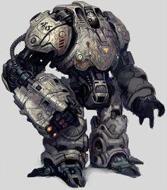 "Heavy duty mecha fighter creatively named ""Robot"" by ~SaeedRamezani Arte Robot, Robot Art, Steampunk, Character Concept, Character Design, 3d Character, Space Opera, Cool Robots, Big Robots"