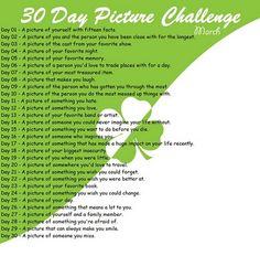 30 day photo challenge. Perfect way to fill a storybook at BuildYourHeritage.com