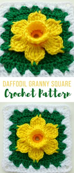 CROCHET DAFFODIL GRANNY SQUARE PATTERN #crochetflowerpatterns #crochetflowergrannysquare #crochetdaffodilpattern #crochetpatterns #crochetflowers #affiliate