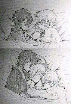 Diabolik lovers Shu Sakamaki (Oldest) Reiji Sakamaki (Middle, Second Oldest After Shu) and Subaru Sakamaki (Youngest) Before (As children) After (Teenagers) Tbh, this is very cute. Manga Anime, Me Anime, Girls Anime, Anime Kawaii, Anime Love, Anime Guys, Anime Art, Ruki Mukami, Reiji Sakamaki
