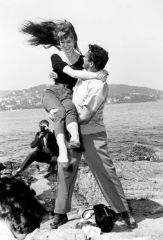 A 20-year-old Brigitte Bardot with Austrian actor Carl Moener at the 1955 Cannes Film Festival