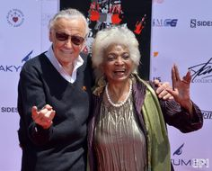 Marvel comic book writer Stan Lee and actress Nichelle Nichols participate in a hand and footprint ceremony immortalizing him in the…