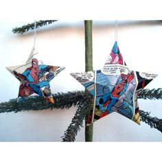 Handmade Vintage Spider-Man Comic Book Super Hero Stars - Set of 7 Recycled Christmas Ornaments