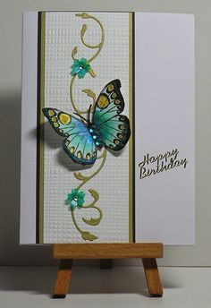 Cathys Card Spot: Blue-green and gold butterfly panel