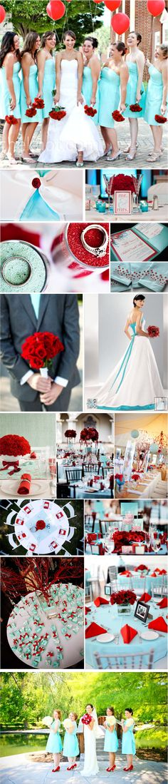 A dress down the page with aqua under skirt and sash - pretty with the red bouquet.  Aqua/red wedding inspiration.... Not crazy about the red- but LOVE the blue