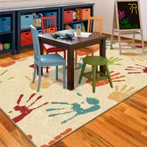 I REALLY LOVE this rug for the playroom. If I can find a plain color rug, I could paint this on for cheaper, but $99 for this rug really isn't a bad price either. I think I would put a few of my kids handprints on here too. Large and small hands. Walmart: Orian Handprints Fun Kids' Area Rug