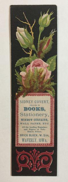 Antique Bookmark w/ Advert. - Sidney Covert, Books, Stationery, Etc., Waverly IA