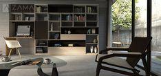 Moderná obývačka, ktorá kombinuje obývaciu zostavu s pracovňou
