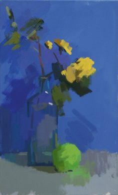 Por amor al arte: Philip Richardson Painting Still Life, Still Life Art, Yellow Art, Yellow Roses, Blue Art, Arte Floral, Art For Art Sake, Abstract Flowers, Botanical Art