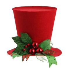 """RAZ RED TOP HAT Red and Green Made of Fabric Measures X """"Sentimental Season"""" collection by RAZ Imports Red top hat decorated with green and red ribbon, red balls and holly Christmas Tops, Christmas Hat, Christmas Tree Toppers, All Things Christmas, Christmas Holidays, Christmas Ornaments, Merry Christmas, Christmas Centerpieces, Halloween Decorations"""