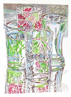 artnet Galleries: Four Glasses by Janet Fish from Mojo Portfolio