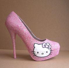 Pink Hello Kitty Glitter High Heels by TattooedMary on Etsy, $110.00