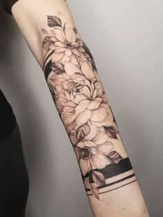 Tattoo uploaded by Dorota Masalska Arm Tattoos For Women Forearm, Half Sleeve Tattoos Forearm, Forearm Band Tattoos, Quarter Sleeve Tattoos, Forearm Flower Tattoo, Girl Arm Tattoos, Girls With Sleeve Tattoos, Flower Tattoos, Arm Band Tattoo For Women