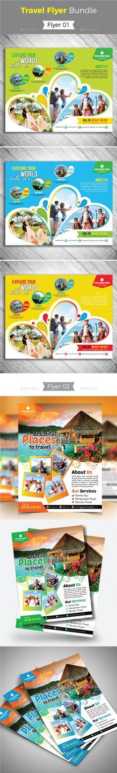Travel Flyer Template Bundle - Vector EPS, AI Illustrator