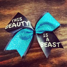 turquoise sequins and black mystique this beauty is a beast cheer bow Cute Cheer Bows, Cheer Mom, Big Bows, Cheer Stuff, Cheer Hair Bows, Softball Bows, Cheerleading Bows, Girls Softball, Cheerleading Bedroom