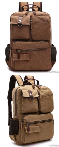Retro School Canvas Laptop Backpack Brown Large Capacity Multi-pocketed  Outdoor Travel Backpack only  38.99 ebdf9b19d9