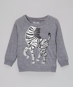 Take a look at this Heather Charcoal Dancing Zebra Tee - Toddler & Kids by Peek-A-Zoo on #zulily today!