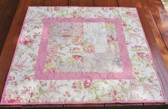Quilted Table Topper Table Topper Shabby Chic Floral Roses