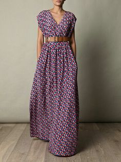 Colorful, patterned maxi dress