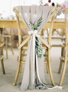 Chair ornaments for a white/grey wedding theme. Love the natural garden vibe!
