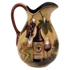 Ceramic Tuscan Vineyard Pitcher Wine Bottle Grapes Bar Decor House Warming Gift