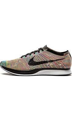 Nike Men's Flyknit Racer, DARK GREY/BLACK BLUE GLOW -PINK FL, 10.5 M US Best Price