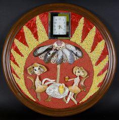 Seshell wall clock mosaic