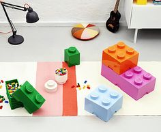 Vibrant Giant LEGO Storage Blocks Bundle   Blue, Hot Pink, Green, Orange,