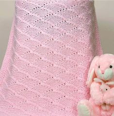 Knitting Pattern for Quick Seashells Baby Blanket - 10 Hours or Less designed this quick baby blanket that can be adapted to any weight of yarn or size. Pictured in worsted and 36″ x 36″ [91cm x 91cm], it can take less than 10 hours to knit. Perfect for a last minute shower gift.