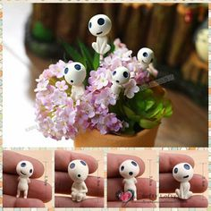 Free shipping Tree Fairy Ghosts Kodama Mini Figures from Princess Mononoke 4pcs/lot PVC toy succulent plants decoration kid gift