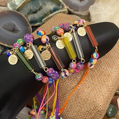 artesanal Pulsera piedra natural chip aventurina medalla de estrella