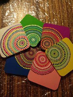 Dot Art #dotart #puntillismo puntillismo Coaster Art, Tea Coaster, Mandala Drawing, Mandala Painting, Dot Art Painting, Stone Painting, Rock Crafts, Arts And Crafts, Indian Folk Art